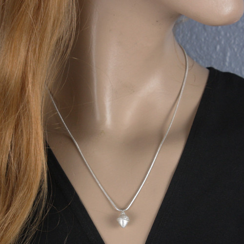 Mannequin View - Acorn pendant made with .999 Fine Silver (1339) shown on a 20 inch snake chain (chain not included)