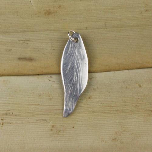 Bamboo Front View - Feather pendant made with .999 Fine Silver (1338)