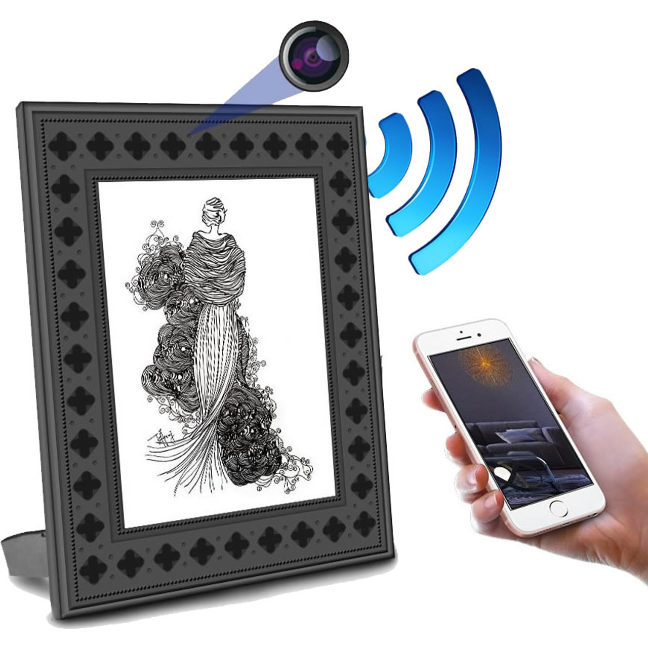 Picture Frame Hidden Camera w/ Night Vision, 1 Year Battery & WiFi ...