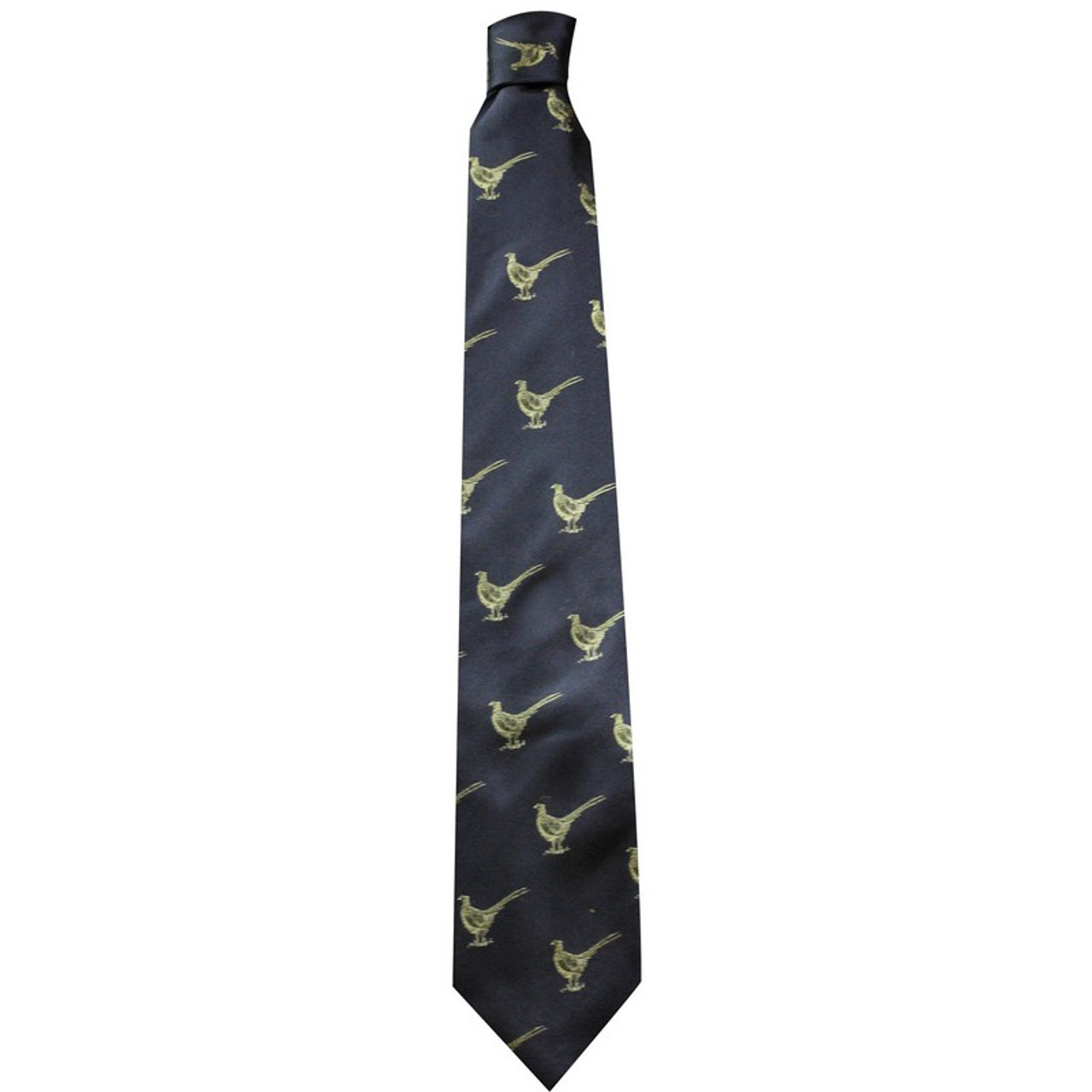 Best price for Silk Tie by Bisley, featuring pheasant design, available in blue or green, on sale at Bradford Stalker