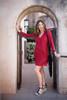 EMMY Bias Cut V-Neck Silk Kurta Dress in Loveburst (XL)