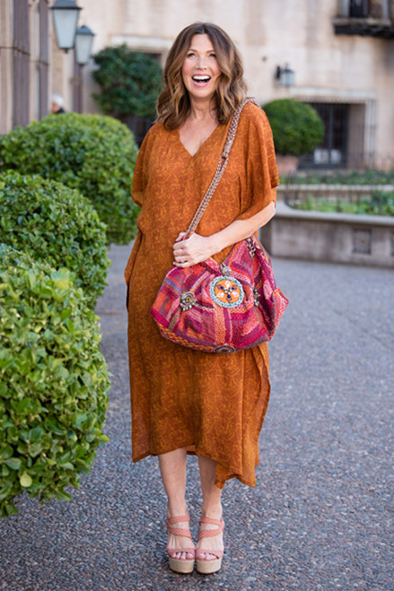 KRYSTA Kaftan Maxi Silk Dress Cover Up in Burnt Sienna (Sm/ Med)