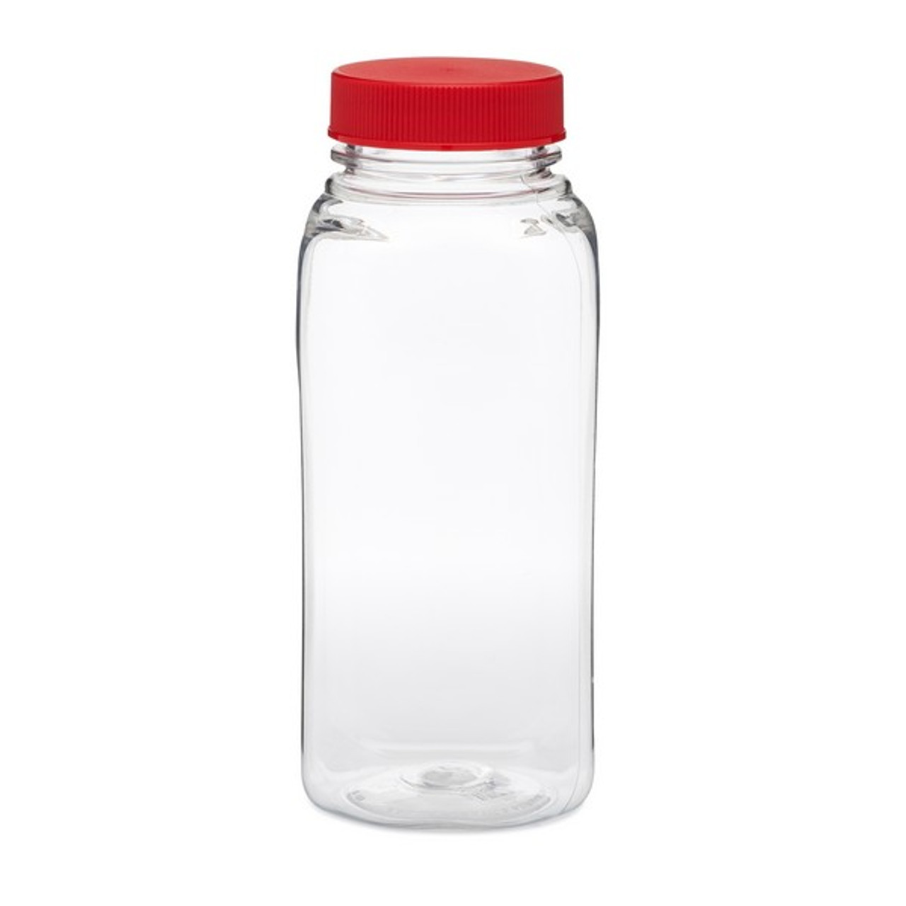 8 Oz Clear Pet Square Beverage Bottles Red Cap Berlin