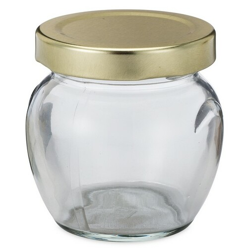 3 oz clear glass honey pot jars metal lug cap berlin. Black Bedroom Furniture Sets. Home Design Ideas