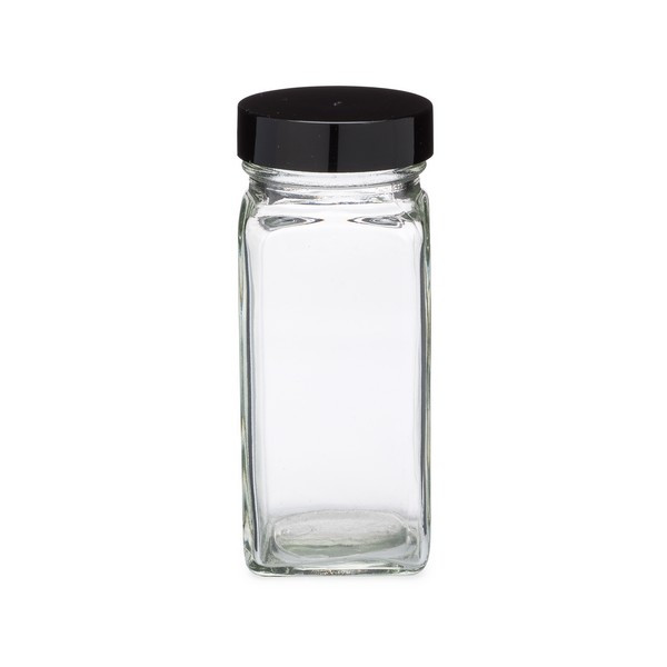 4 oz clear glass square spice jars with caps bulk berlin. Black Bedroom Furniture Sets. Home Design Ideas