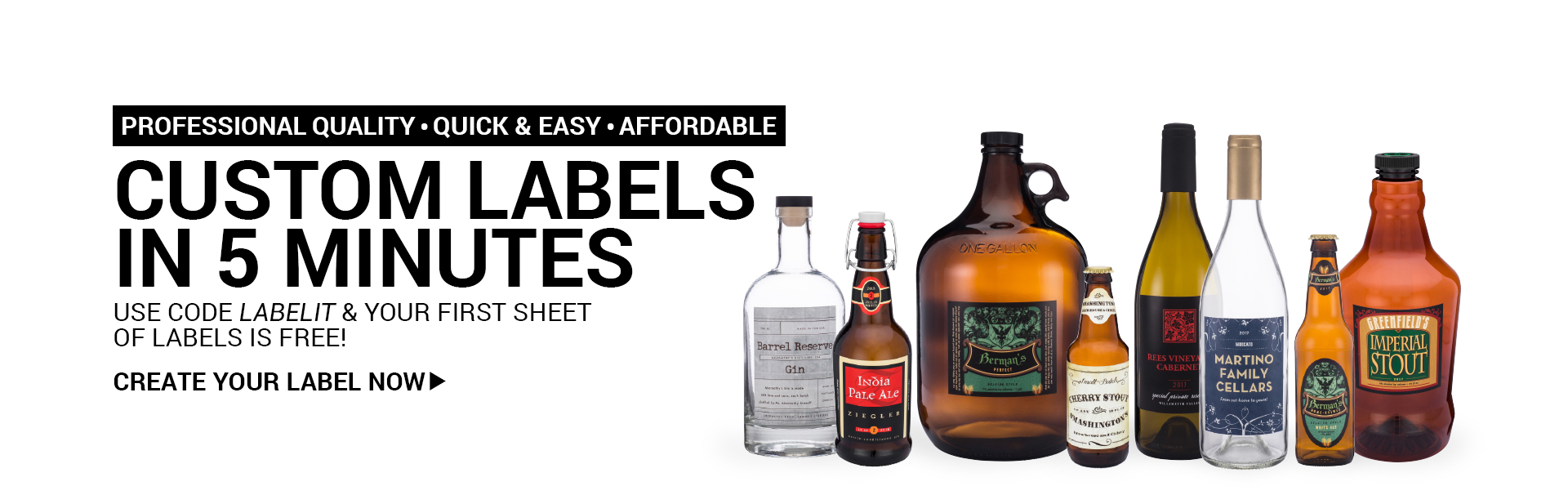 Custom Labels in 5 Minutes.  Use Code LABELIT & your first sheet of labels is free!
