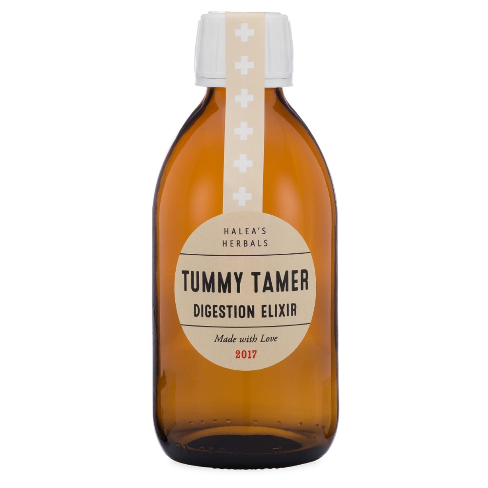 Amber Syrup Bottle with sample label