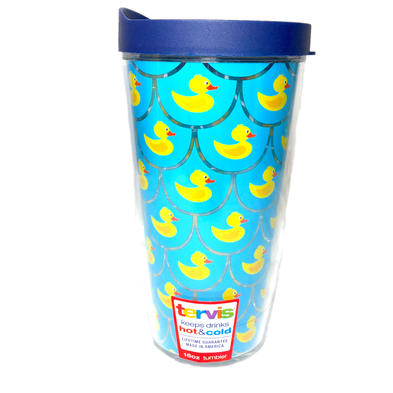 Chatham Ducks Brand Scalloped Rubber Duck Pattern Tervis Insulated Tumbler With Lid In The Window