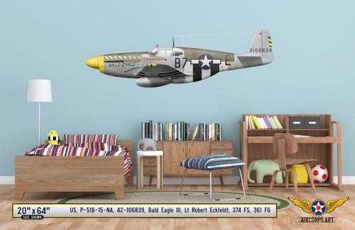 "P-51B Mustang ""Bald Eagle III"" Decorative Vinyl Decal"
