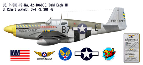 "P-51B Mustang ""Bald Eagle III"" Decorative Vinyl Decal"