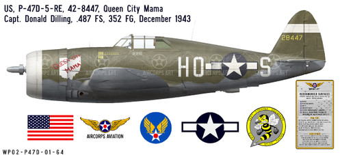 "P-47D Thunderbolt ""Queen City Mama"" Decorative Vinyl Decal"