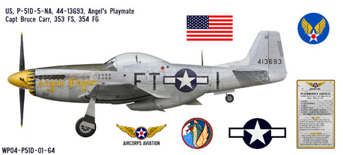 "P-51D Mustang ""Angels' Playmate"" Decorative Vinyl Decal"