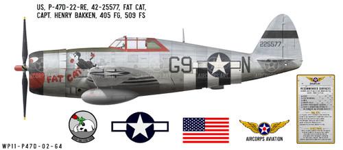 """P-47D Thunderbolt """"Fat Cat"""" Decorative Vinyl Decal"""