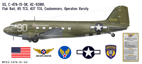 "C-47A Dakota ""Flak Bait"" Decorative Vinyl Decal"
