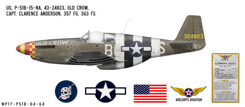"P-51B Mustang ""Old Crow"" Decorative Vinyl Decal"