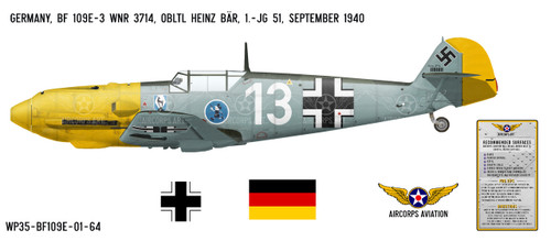 BF 109E-3 Messerschmitt Decorative Vinyl Decal
