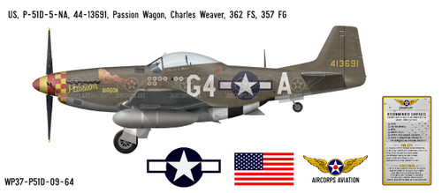 "P-51D Mustang ""Passion Wagon"" Decorative Vinyl Decal"