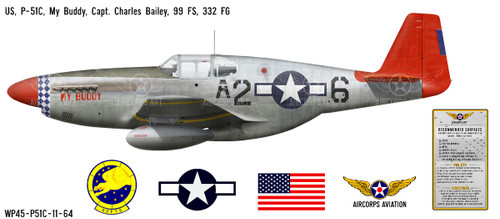 "P-51C Mustang ""My Buddy"" Decorative Vinyl Decal"