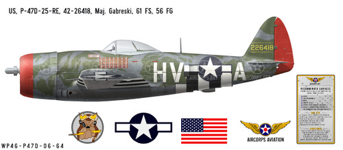 P-47D Thunderbolt - Gabby Gabreski Decorative Vinyl Decal