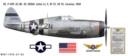 """P-47D Thunderbolt """"Lethal Liz II"""" Decorative Vinyl Decal"""