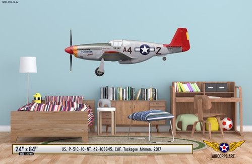 "P-51C Mustang ""Tuskegee Airmen"" Decorative Vinyl Decal - Available by clicking link in description below"