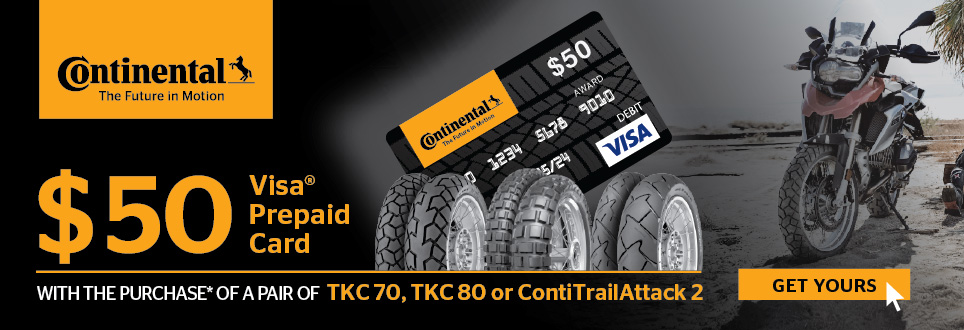 Continental Dual Sport Tire Rebate for Oct and Nov 2018