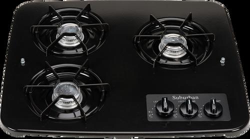 Stove; Drop-In Cooktop; Black; 18-15/16 Inch Width; Match Light; 6500 BTU For Front Burner And 5200 BTU 2 Rear Burners; 3 Burner; With Single Piece Grate
