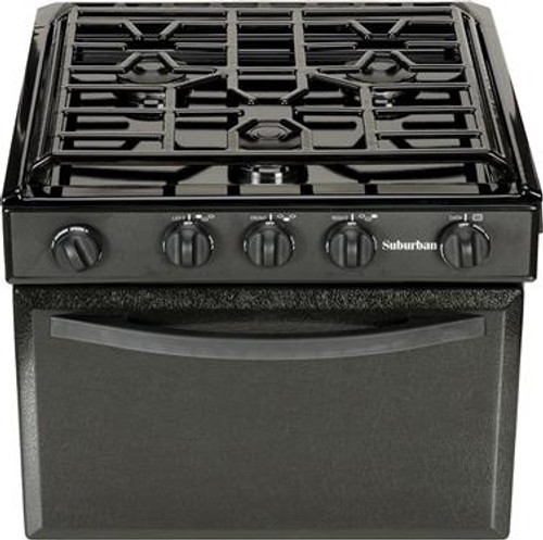 Stove; Range; Model Number SRNA3LBBEZ; Black; 22 Inch Width; Piezo Ignition; 9000 BTU Main Burner And Two 6500 BTU Rear Burners; 3 Burner; With Deluxe Grate; Single