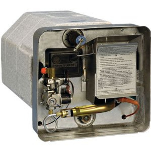 Water Heater; Electric; Model Number SW10DEL; 10 Gallon; Direct Spark Ignition; 12000 BTU; 16-7/32 Inch Height x 16-7/32 Width x 20-1/2 Inch Depth; With 12 Volt Relay