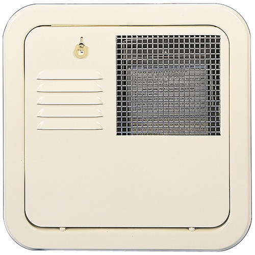 Water Heater Access Door; For Suburban 10 Gallon Water Heater; Flush Mount; Colonial White; Galvanized Steel