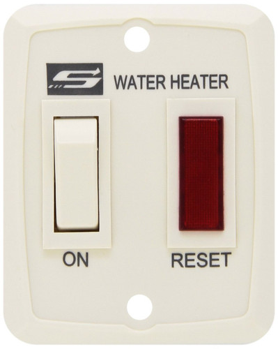 Water Heater Power Switch; For Suburban V-Series Water Heater; 2-3/4 Inch Length x 2-1/4 Inch Width; Wall Mount; White; With Switch Plate And Light Assembly