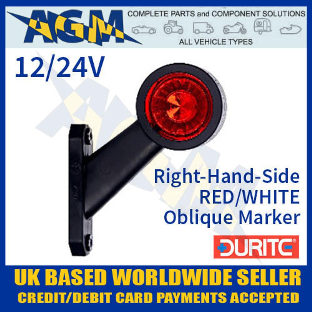 durite, 0-172-30, 017230, rh, red, white, oblique, led, outline, marker, lamp, 12v, 24v