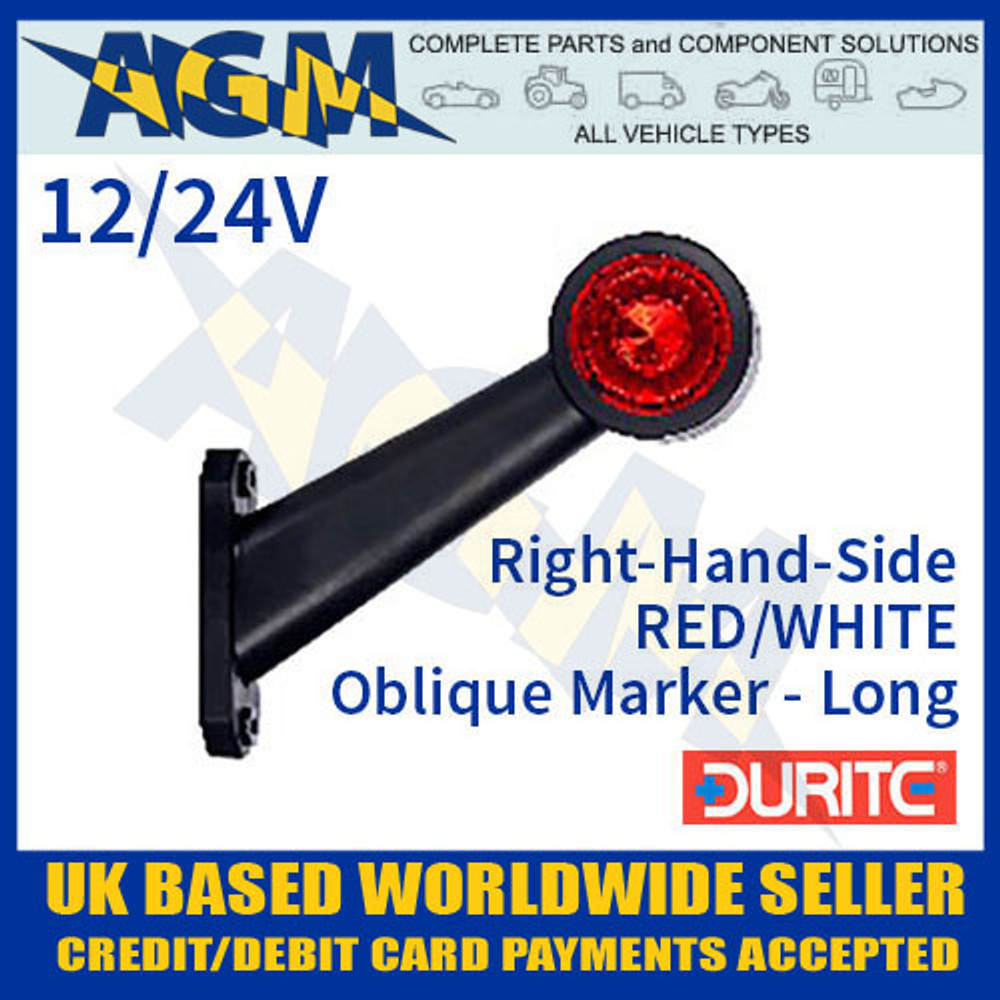 durite, 0-172-35, 017235, rh, red, white, oblique, led, outline, marker, lamp, 12v, 24v