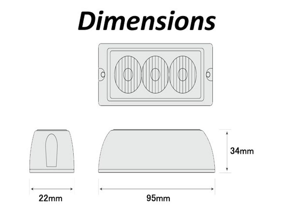 LED3DVA AMBER 3 LED Strobe Light Multivolt 12/24v