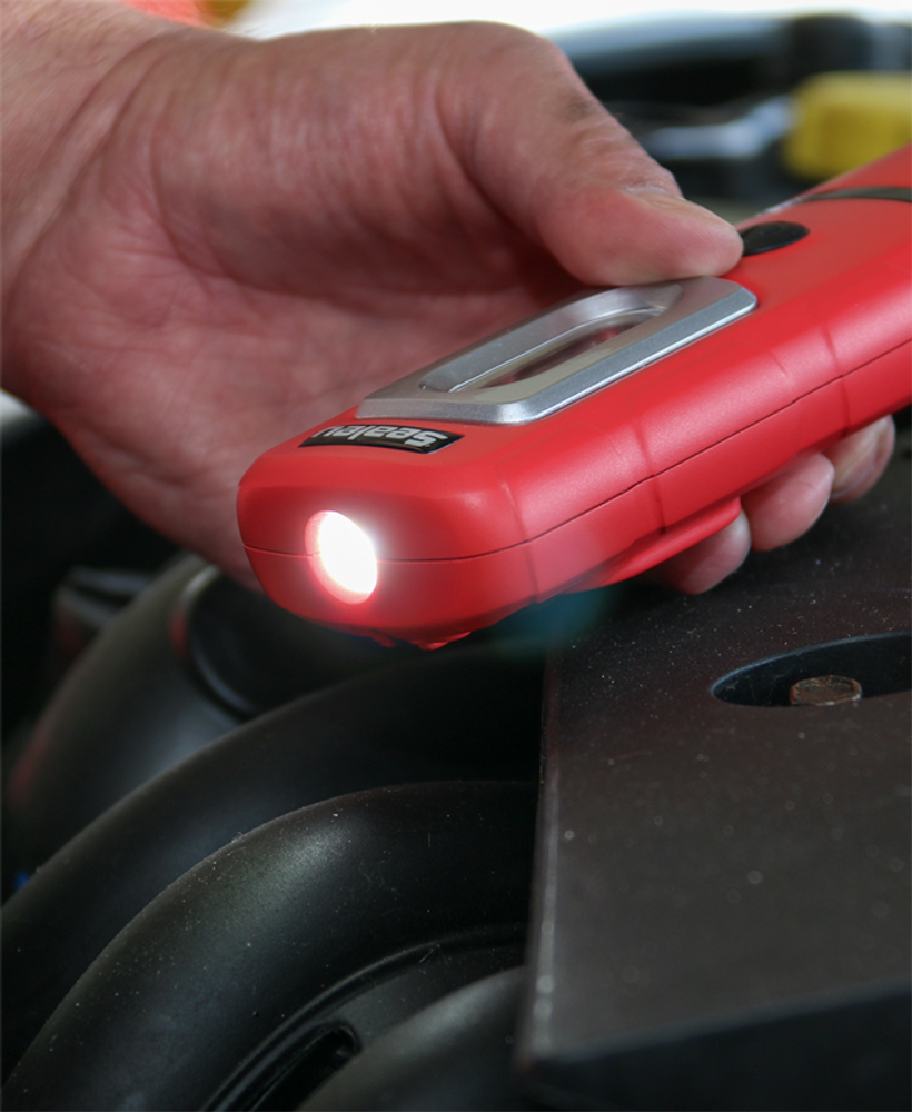 Sealey LED3601R Rechargeable 360° Inspection Lamp - In Action