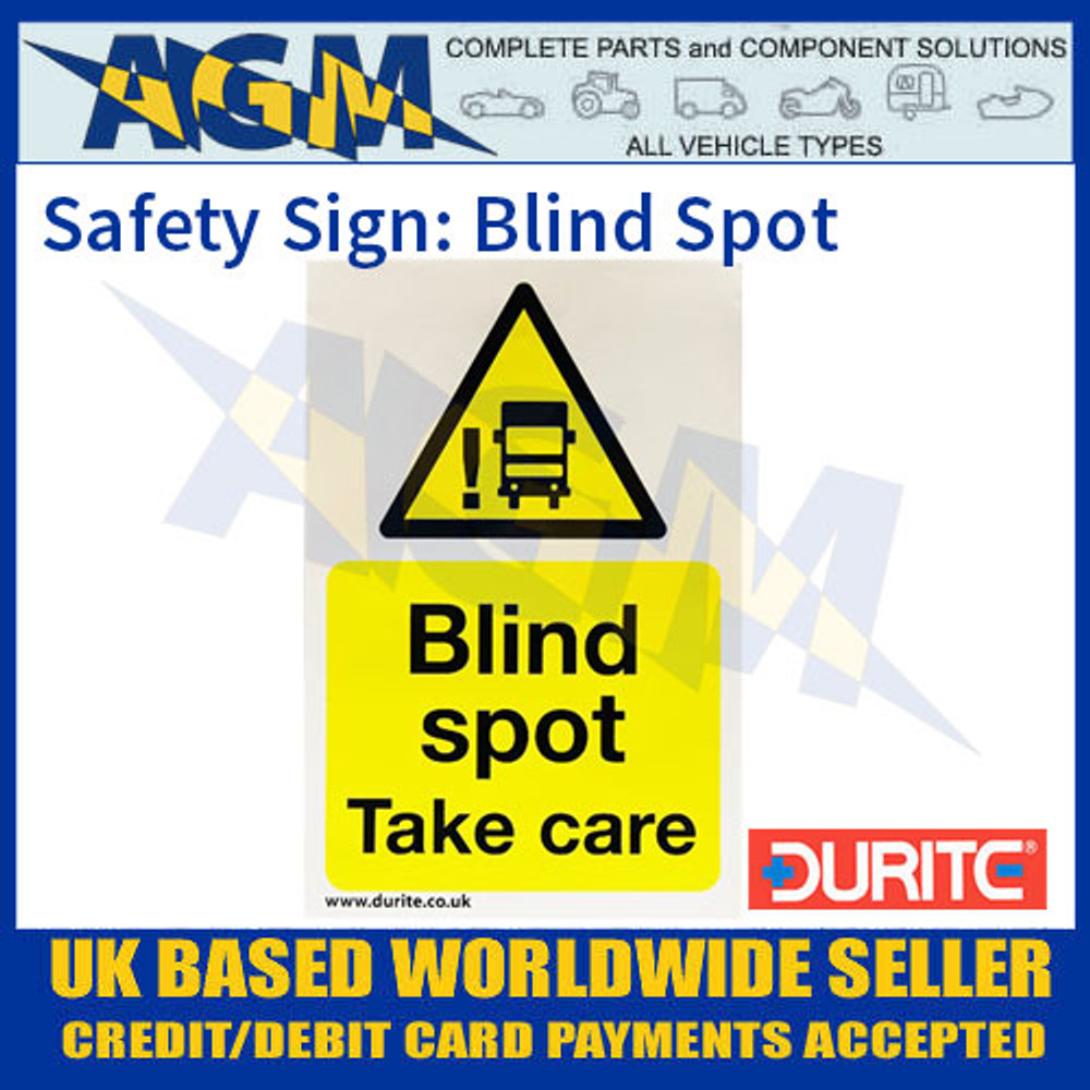 """Durite 0-870-51 Safety Sign """"Blind Spot"""""""