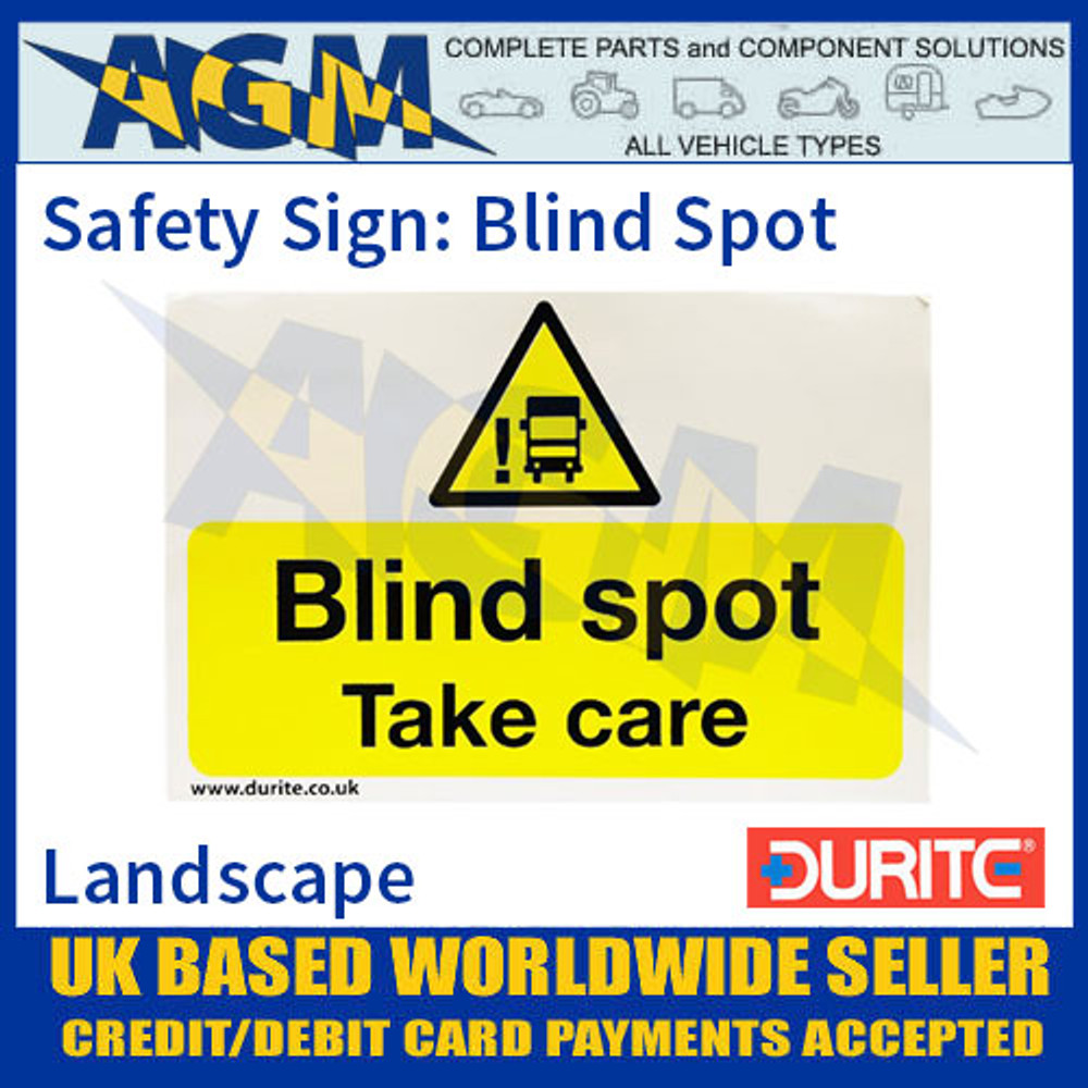 """Durite 0-870-50 Safety Sign """"Blind Spot"""""""