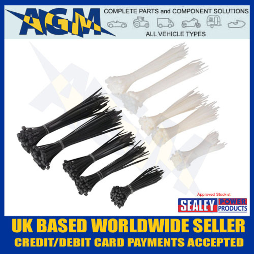 CT600BW, Sealey, Cable Ties, Black, White, 600, case