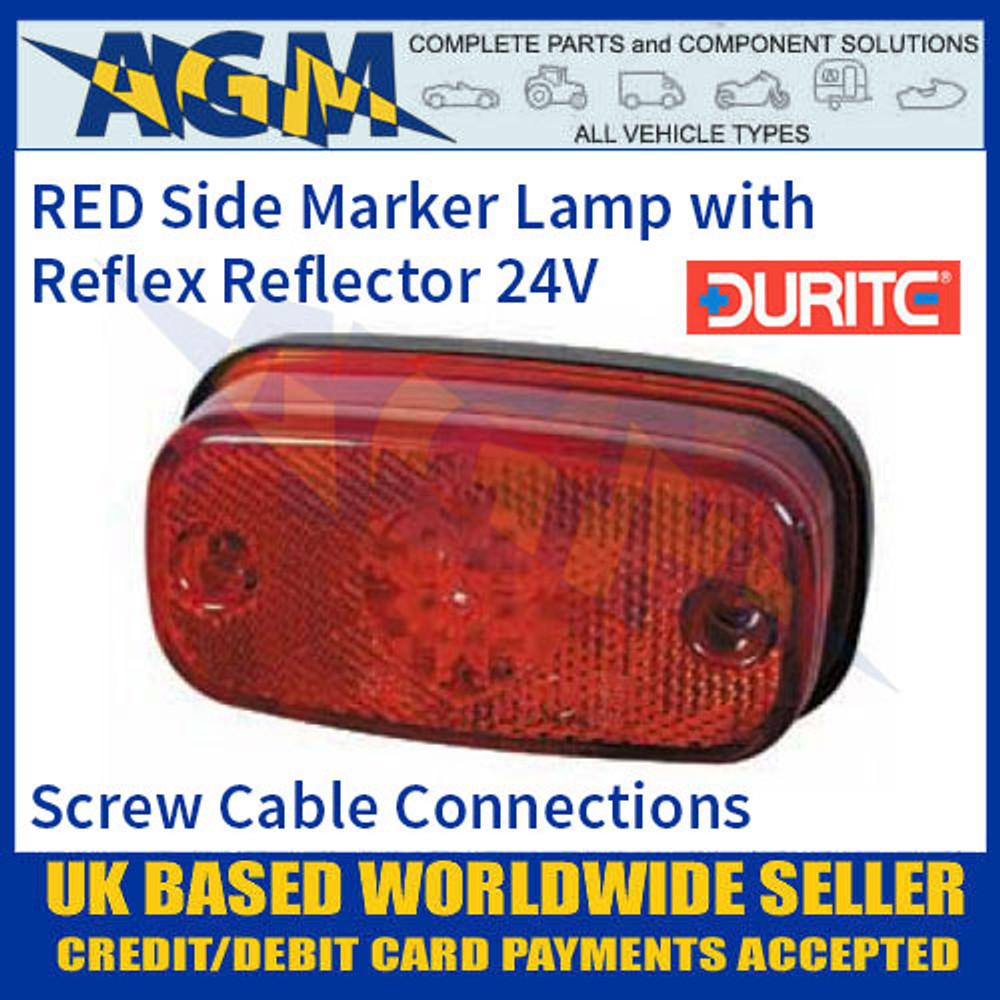 0-169-55 RED LED Side Marker Lamp with Reflex Reflector, 24V
