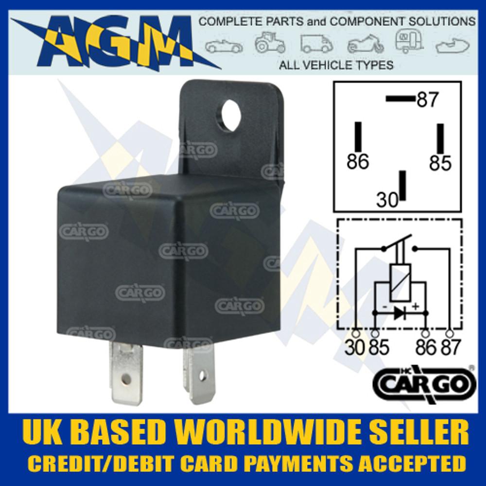 cargo, 160929, 12v, 40a, mini, make, break, relay, diode