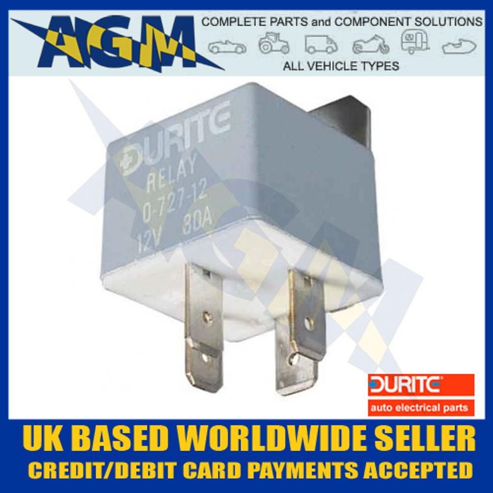 Durite 0-727-12, 30 Amp Relay, 4 Terminal Make or Break Relay And Bracket, 12v