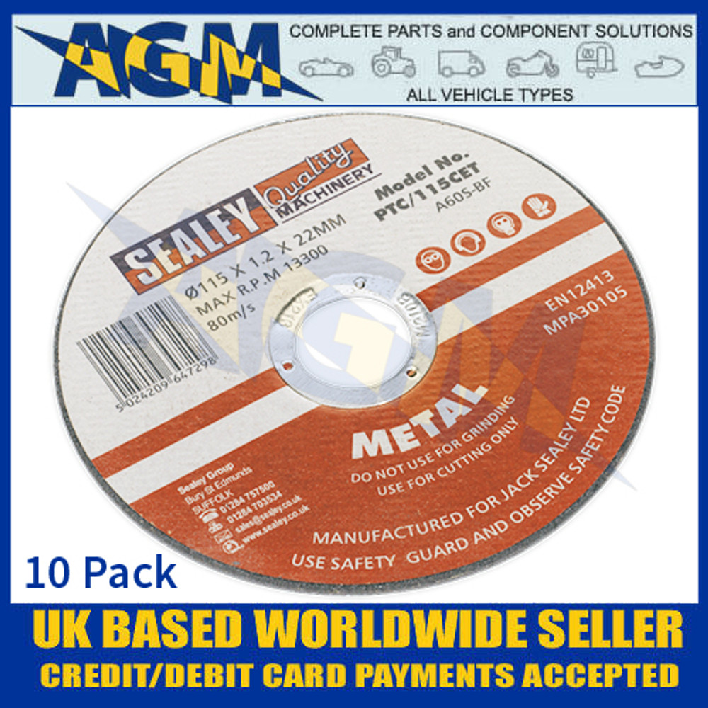 Sealey PTC11510CET Cutting Disc 115 x 1.2mm 22mm Bore X 10