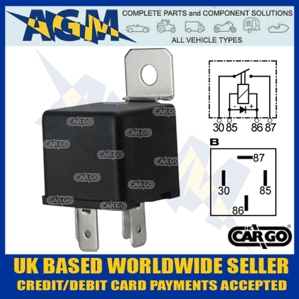 Cargo 160982, 12v, 4 Terminal Mini Relay with Bracket 40 Amps