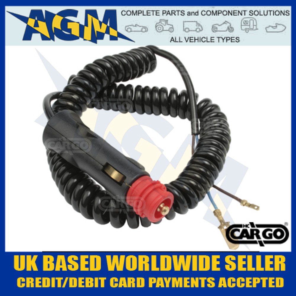 Cargo 171518 Coiled 2M Cable With Car Plug And Two Leads With Spade Terminals