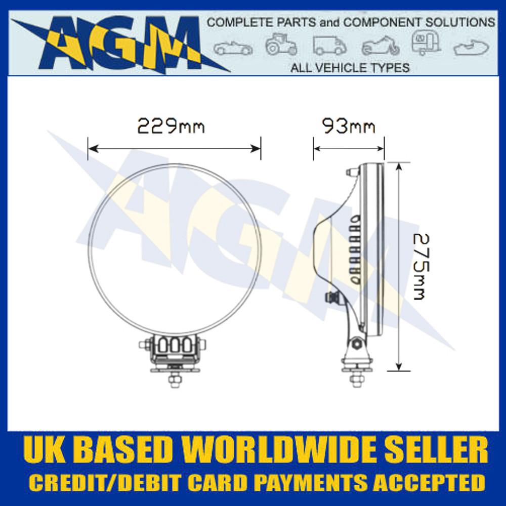 "LED Autolamps 2296SBM LED 9"" Round Driving Spot Lamp/Light Dimensions"