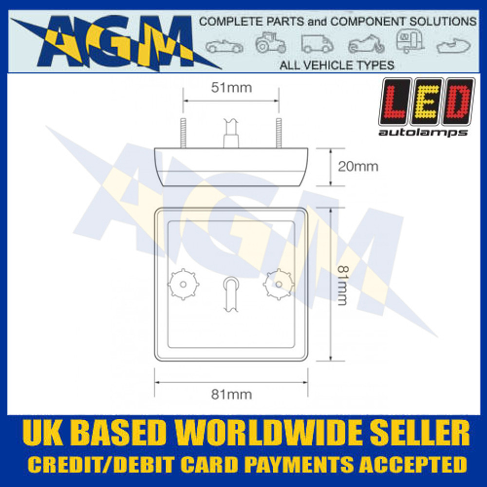 LED Autolamps 81RM LED Stop and Tail Light Lamp 12/24v Dimensions