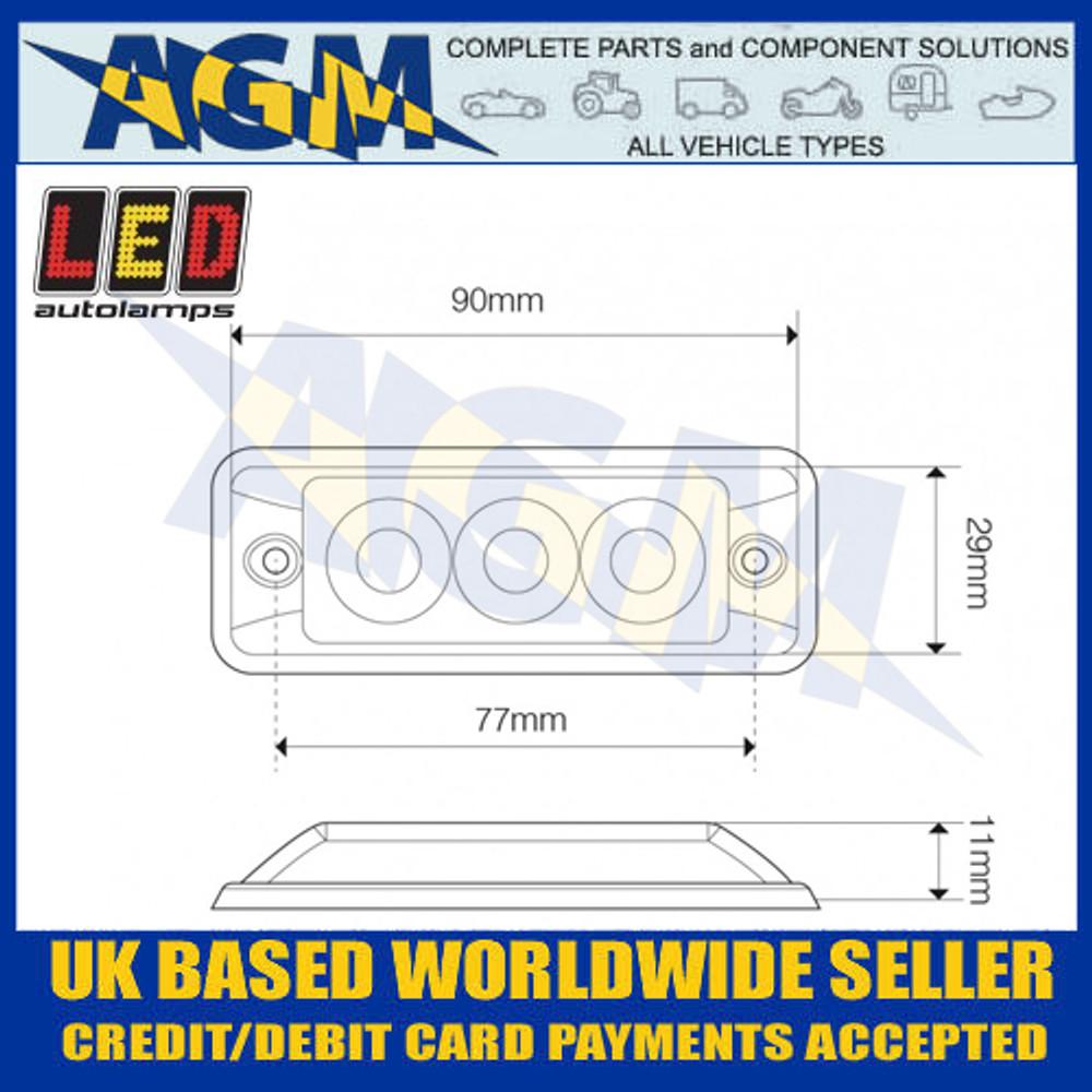 LED Autolamps SSLED3DVA Super-Slim Amber 3 Block LED Warning Lamp Dimensions