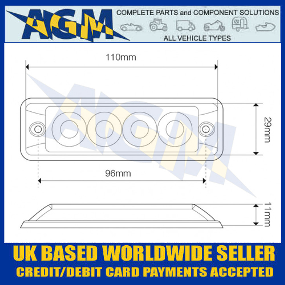 LED Autolamps SSLED4DVW Dimensions