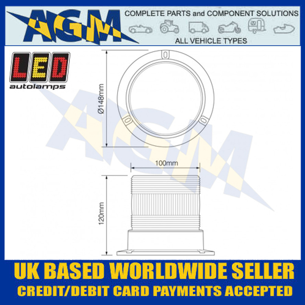 LED Autolamps EQPR10BBM Blue LED Warning Beacon Dimensions