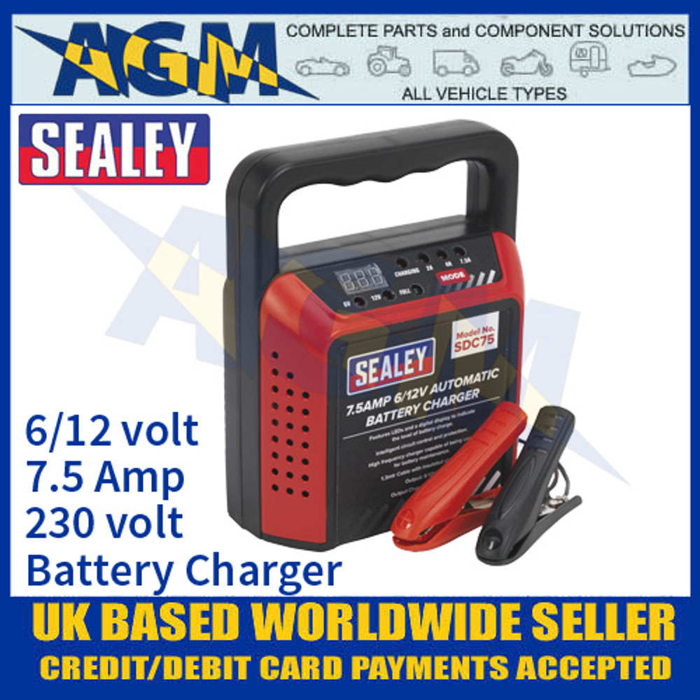Sealey SDC75 Battery Charger, 6/12 Volt 7.5 Amp 230 Volt Battery Charger
